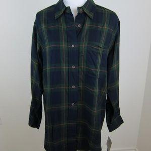 Lauren Ralph Lauren Shirt Plaid M Green Blue NEW